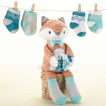 Mr. Fox in Socks Gift Set - Knit Plush Fox & Socks for Baby