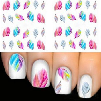 1 Pcs Feather DIY Designer Transfer Nails Art Sticker Colorful Fantacy Flowers Nail Stickers Wraps Foil Sticker manicure #17131