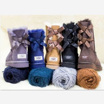 """UGG"" Women male Fashion Wool Snow Boots side edge bowknot (4-color)"