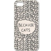 Because Cats Animal Cat Cartoon Retro Vintage Funny Patterned Hard Back Case Cover Skin For Apple iPhone 5/5S- White Rubber Soft Case Comes with stylus Pen for iPhone by INNOSUB