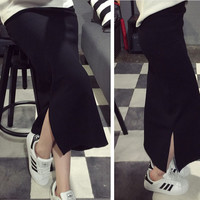 Black High Waist Stretched Maxi Skirt with Slit