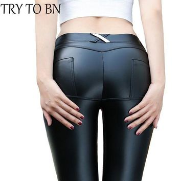 DCCKXN2 TRY TO BN 4 Colors PU Leather Low Waist Leggings Women Sexy Hip Push Up Pants Legging Jegging Gothic Leggins Jeggings Legins