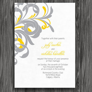 Yellow and Grey Flourish Customizable Printable Wedding Invite