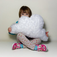 FLUFFY CLOUD PILLOW Cushion White colour Faux Fur - Lovely So Soft and Fluffy - Baby Nursery Home Decoration