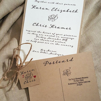 Rustic Wedding Invitation, Calligraphy invitations, barn invite, country invitation, kraft wedding invitation, shabby chic, wedding invite