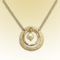 14k gold filled circles and fresh water pearl by artisanfield