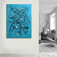 "Original abstract painting on canvas. 30x40"" Geometric with blue, turquoise, black, white. Canvas art. Big painting. Blue painting."