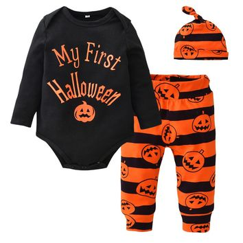 Cute Newborn Baby Boys Girls Clothes Black Letter Bodysuit+Pumpkin Pants+Hat Infant 3pcs Suit Baby Clothing My First Halloween