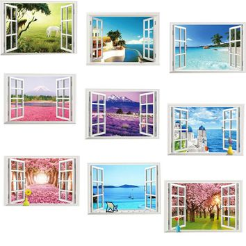 3d effect Window View Scenery Wall Sticker Living room Bedroom Wall Decals Home Decor horse wall paper Poster Mural