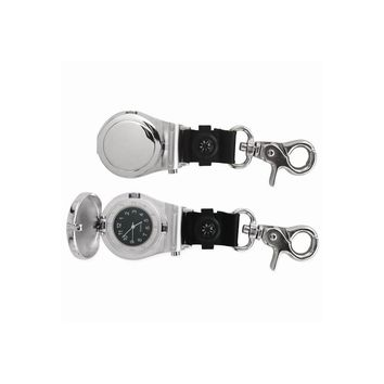 Nickel-plated Compass and Sailors Clip Watch - Engravable Personalized Gift Item
