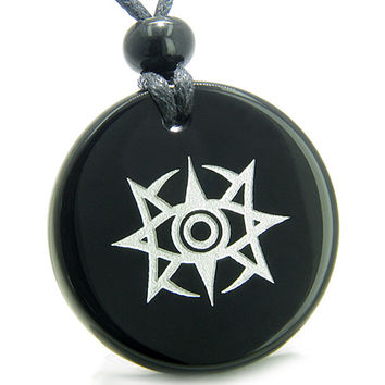 Amulet Celestial Eye Supernatural Minrozian Empire Black Agate Pendant Necklace
