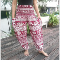Red Elephant Yoga Pants Baggy Boho Comfy Exotic Style Print Hippie Gypsy Thai Plus Size Rayon Aladdin Clothing Beach Casual Gift Thaicloth