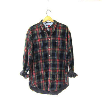 Vintage plaid corduroy flannel. soft button up shirt. Unisex. black and red Tommy Hilfiger prep shirt. oversized tomboy shirt. Mens L