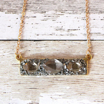 Raw Crystal Necklace, Diamond Crystal Necklace, Rough Raw Diamond Jewelry, Rough Crystal Necklace, Crystal Necklace for Her