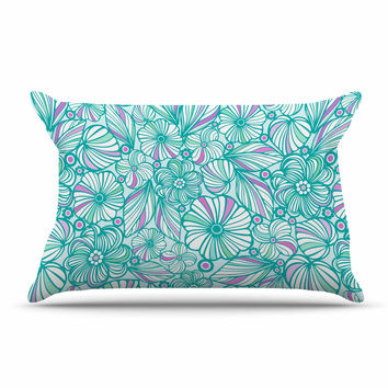 "Julia Grifol ""My Turquoise Flowers"" Teal Pink Pillow Sham"