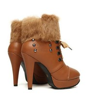 Buy Fashion Fuzz Rivet Embellished Bandage High Heel Shoes Brown with cheapest price|wholesale-dress.net