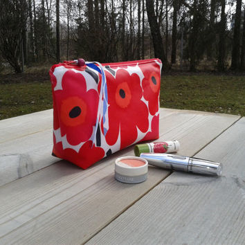 Make up bag made from Marimekko oil cloth fabric Unikko, Zipper travel box pouch purse,  red cosmetic bag, floral