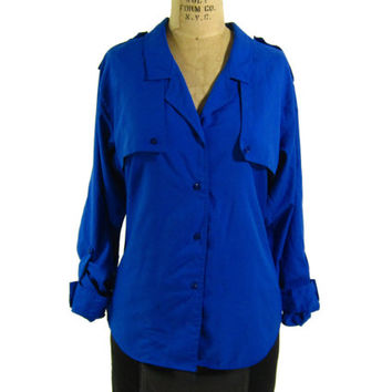 Vintage Royal Blue Blouse by Diane Von Furstenberg - Shirt Button Down Top Designer Women's Size Small Medium Sm Med S M