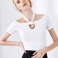 White Halter Off Shoulder Circle Detail Tight T-shirt
