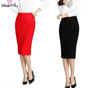Women Skirt 2016 New Midi Bodycon Office Women Slim Knee Length High Waist Stretch Sexy Pencil Skirts Jupe Femme Red Black Color