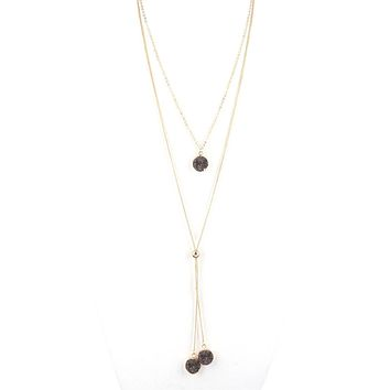 Hematite Druzy Drop Long Layered Lariat Necklace