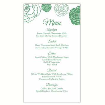 Wedding Menu Template DIY Menu Card Template Editable Text Word File Instant Download Green Floral Menu Template Rose Printable Menu 4x7inch