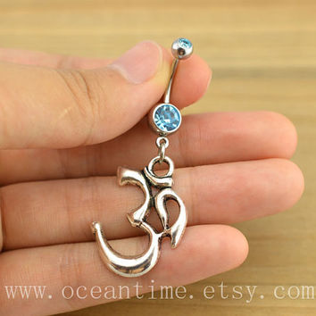 Ohm Om Belly Button Ring ,yoga Navel Jewelry,ohm om Belly Button jewelry, friendship belly button jewelry