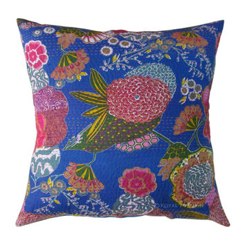 "24x24"" Blue Indian Kantha Floral Throw Pillow Cushion Cover Sham"