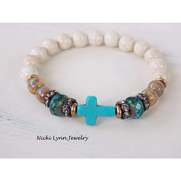 Boho Turquoise Cross Stretch Bracelet