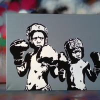 Boxer kids custom painting choose your colour background stencil art canvas urban art pop art street art boxing culture art cuban fighters
