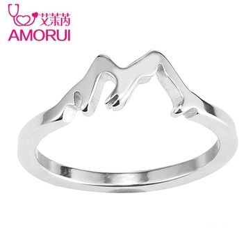 AMORUI Stainless Steel Women Wedding Engagement Silver Gold Mountain Ring Woman Trendy Rings Femme Fashion Ladies Jewelry Anillo