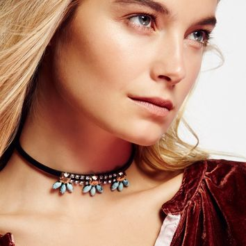 Free People Crystal Blossom Leather Choker