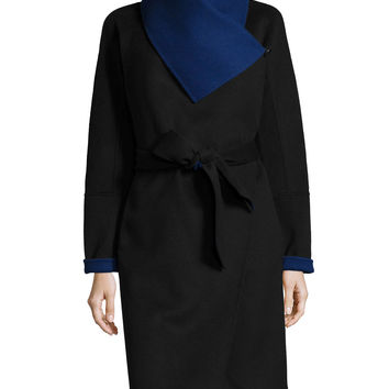 Marilyn Two-Tone Wool-Blend Wrap Coat, Size: