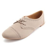 Lace-Up Brogue Oxfords by Charlotte Russe - Taupe