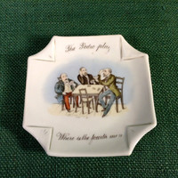 Lithopane Puzzle Dish - The Pedro Play - Where Is The Fourth Man? - Old Card Game Question on plate with answer on back.