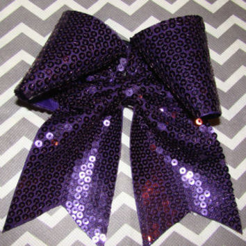Plum Sequin Cheer Bow