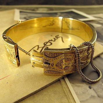 Victorian Moroccan style Bangle by ErstwhileJewelry on Etsy
