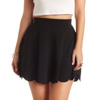 Textured & Scalloped Skater Skirt by Charlotte Russe - Black