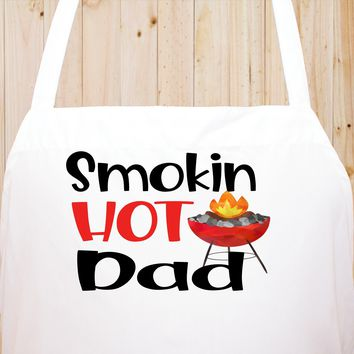 Smokin Hot Dad Chef's Funny Cooking Kitchen Apron , BBQ Grill, Breathable, Machine Washable