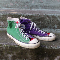 Vintage 80s Converse Chuck Taylor SNEAKERS / 1980s Orange Purple Green Made in USA Hi-Tops 13