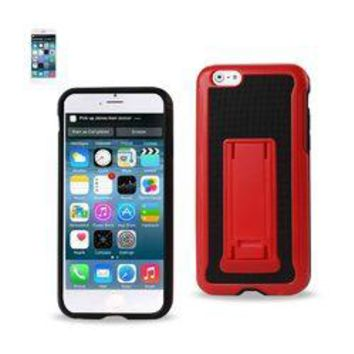 REIKO IPHONE 6 HYBRID HEAVY DUTY CASE WITH VERTICAL KICKSTAND IN BLACK RED