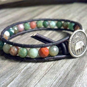 Fancy Jasper Beaded Leather Wrap Bracelet, Gemstone Leather Bracelet, faceted gemstone, Mothers Day Gift