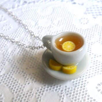 Lemon Tea Cup and Saucer with Lemon Slices Necklace, Cute, Kawaii, Choice of Sterling Silver, Stainless Steel, or Silver Plated Chain :)