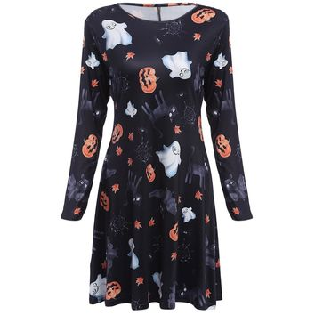Chic Round Collar Allover Print A-Line Halloween Dress for Women