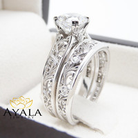 Unique Diamond Engagement Rings 14K White Gold Unique Engagement Ring Bridal Set Filigree Rings