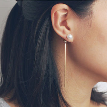 Pearl front and long bar back earrings - two way pearl earrings