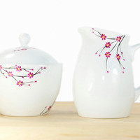 Hand Painted Ceramic Sugar Bowl and Creamer  Cherry Tree Blossom design Modern Minimalist Kitchen Decor