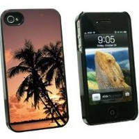 Graphics and More Tropical Island Beach Sunset Sunrise - Snap On Hard Protective Case for Apple iPhone 4 4S - Black - Carrying Case - Non-Retail Packaging - Black