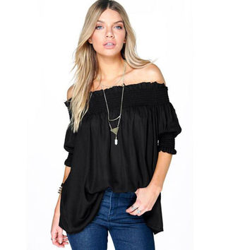 Off Shoulder Women Blouse Black Shirt 2016 Fashion Half Sleeve Tops Casual Loose Blouse Beach Shirt