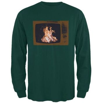 PEAPGQ9 Autumn Funny Faux Fireplace Television Mens Long Sleeve T Shirt